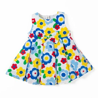 Blue Floral Printed Girls Dress With Bow - TOFFYHOUSE