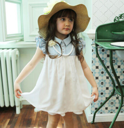 Cute Ruffle Sleeved Dress With Collar - White - DCGN