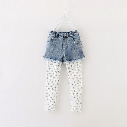 Cute Denim Short With Inset Legging - Blue - Meny