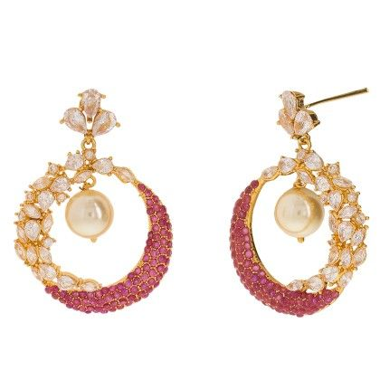 Ruby Colored Earrings With White Stones - Trends