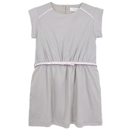 Olivia Grey Dress With Pink Cording - Chateau De Sable