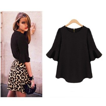 Bat Wing Sleeves Black Top - Dell's World