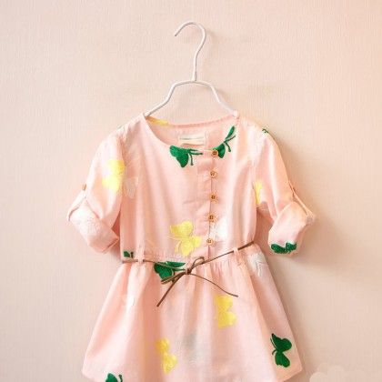 Peach Butterfly Print Dress With Drawstring - Lil Mantra