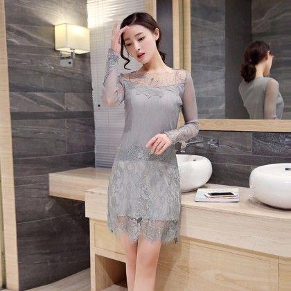 Gray Lace Pattern Top - STUPA FASHION