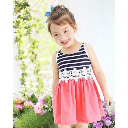 Cute Singlet Dress With Lace Work At Waist - Multi - DCGN