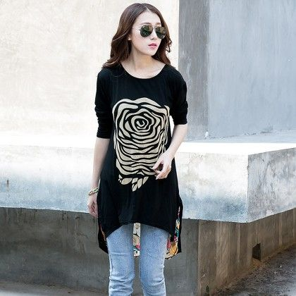 Black Long Summer Tops Short Sleeve Women Shirt Chiffon - STUPA FASHION