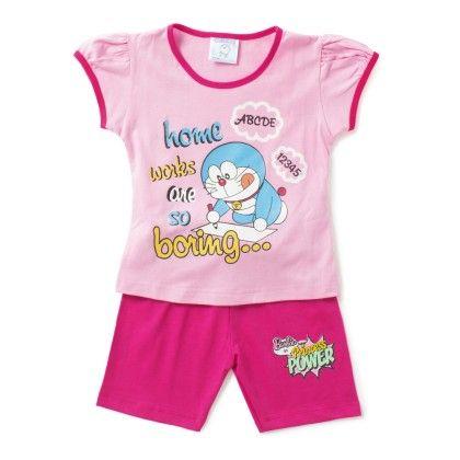 Pink Cartoon T-shirt & Short Set - Eteenz