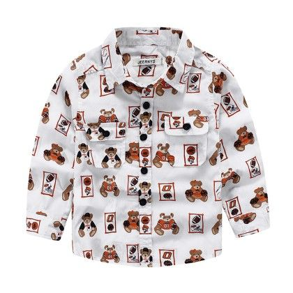 White Teddy Printed Shirt - Lil Mantra