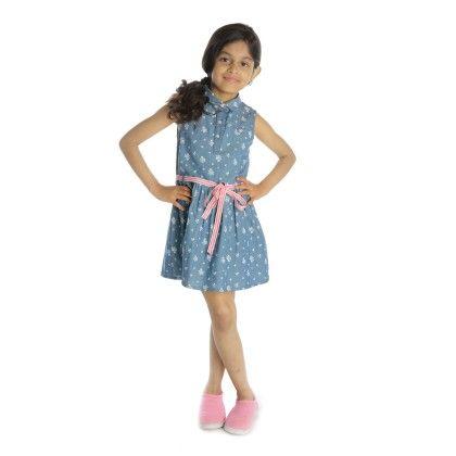 Denim Floral Print Belted Shirt Dress - My Lil'Berry