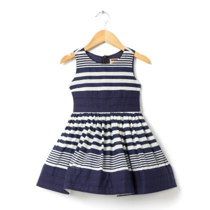 Blue And White Stripe Dress - Hugs & Tugs