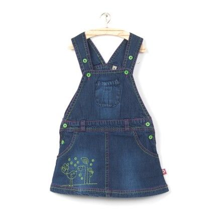 Navy Skirt Dungaree With Green Embrodiery - O'Carina