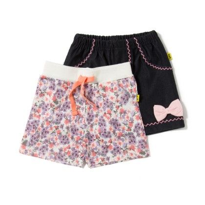 Off White And Black Girls Shorts - Pack Of 2 - Tiny Bee