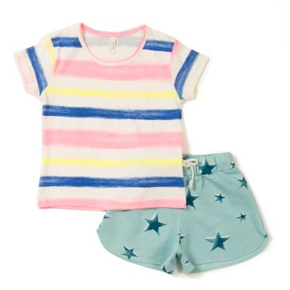 Cute Stripe T-shirt With Star Printed Short - Raine & Jaine