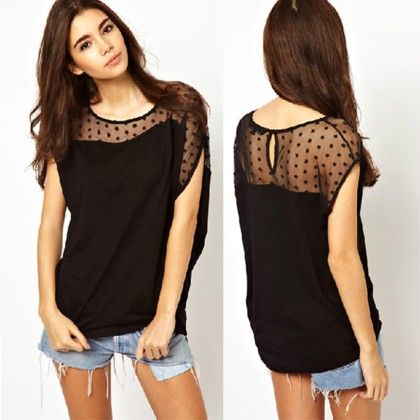 Trendy Dots Black Top - Dell's World