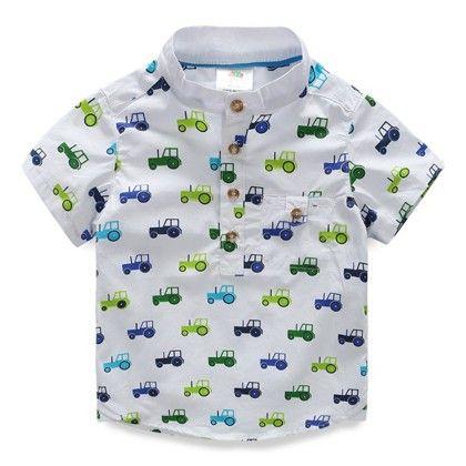 Multi Color Motor Print Boy's Shirt - Mauve Collection