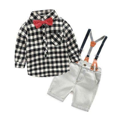 Box Printed Shirt & Suspender Short Set - Lil Mantra