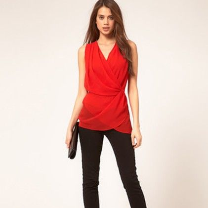 V Neck Wrap Front Sleeveless Casual Vest Tank Top Chiffon Shirt Top Red - STUPA FASHION