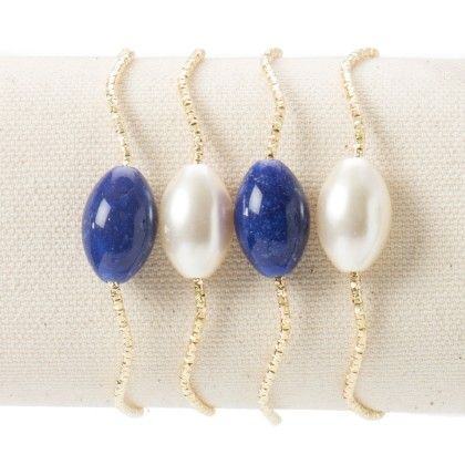 3 Golden Bangle With White And Blue Beads - Wilfred Jewellery