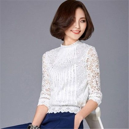 Women Long Sleeve Lace Crochet Blouse - STUPA FASHION