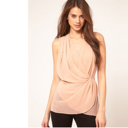 V Neck Wrap Front Sleeveless Casual Vest Tank Top Chiffon Shirt Top - STUPA FASHION