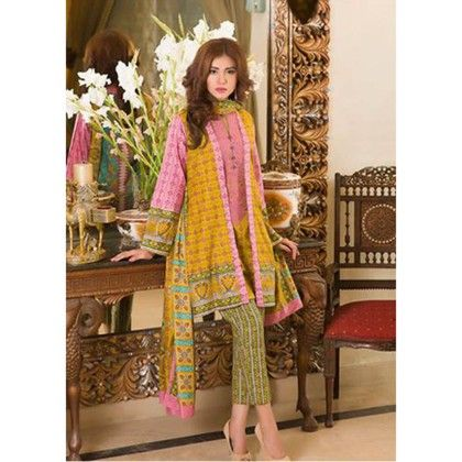 Multi Color Embroidered Semistitched Suit - Mauve Collection