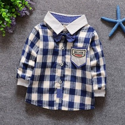 Blue And White Checkered Party Shirt With Bow - Lil Mantra