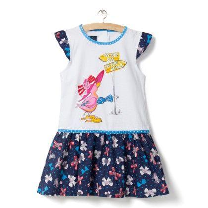 Navy Bird Print Dress - Little Princess