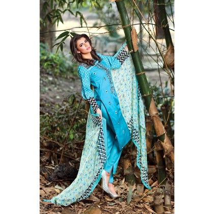 Blue  Embroidered Semistiched Suit - Mauve Collection