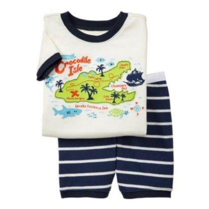 White Crocodile Isle Print T-shirt & Short Sets - Lil Mantra