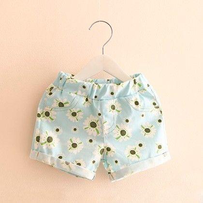 Blue Floral Printed Summer Shorts - Mangopanda