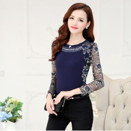 Women's Lace Blouse Shirt Blue - STUPA FASHION