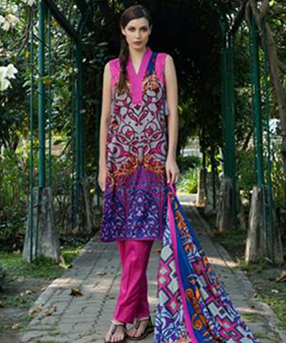 Blue Fuchsia Printed Semistiched Dress Material - Mauve Collection