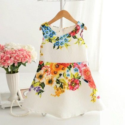 Beautiful Floral Print Dress - White - Mitun