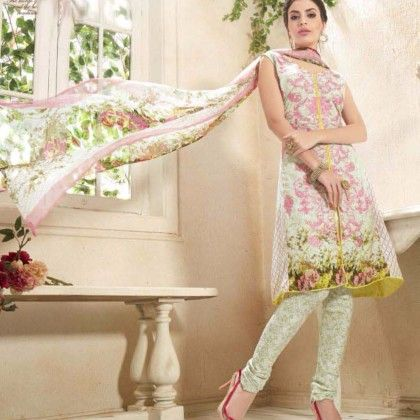 Floral White & Pink Georgette Print With Embroidery Dress Material - Afreen