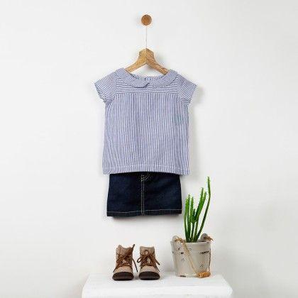 Blue & White Fine Cotton Striped Top - Pluie
