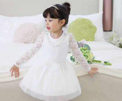 Beautiful Party Dress With Floral Lace Bodice - White - AWBOX