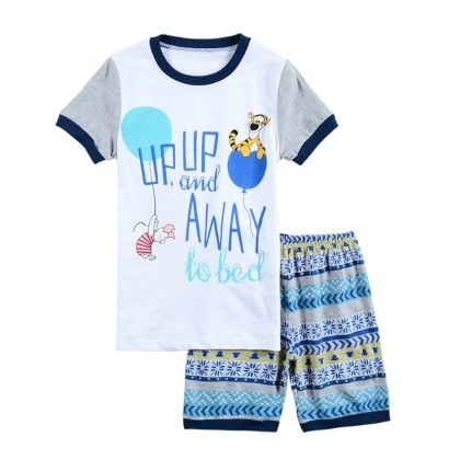 Blue Up Up And Away Print T-shirt & Short Set - Lil Mantra