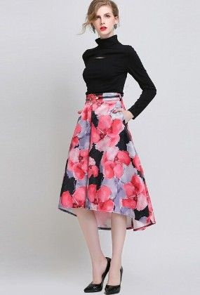 Black And Red Floral Printed Skirt - Mauve Collection