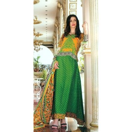 Green & Yellow Printed Semistitched Suit - Mauve Collection