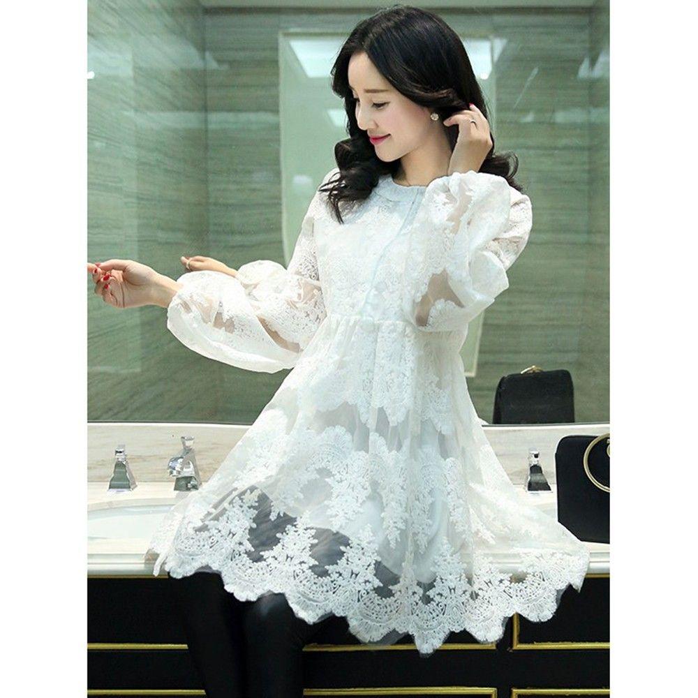 White Plus Size Short Dress - Mauve Collection
