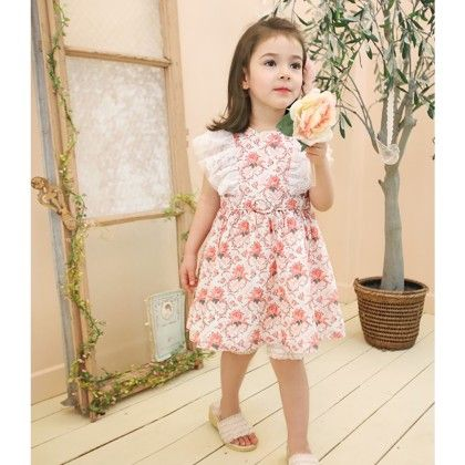 Beautiful Floral Dress With Lacy Sleeves - Multi - DCGN