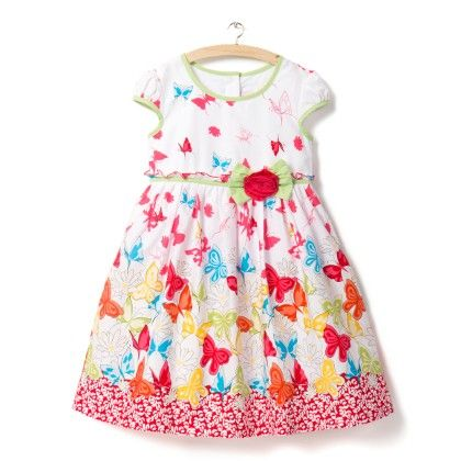 Red And White Butterfly Print Dress - Little Princess
