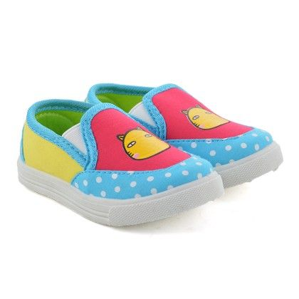 Blue And Red Slip On Shoes With Cat Print - Willy Winkies