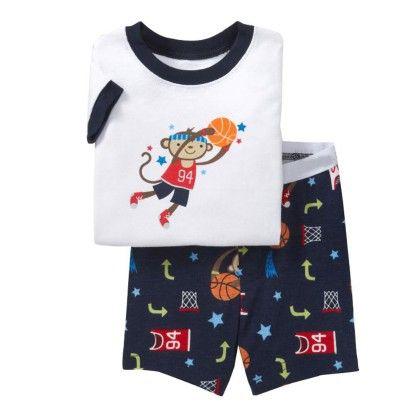 Navy Basketball Print T-shirt & Short - Lil Mantra