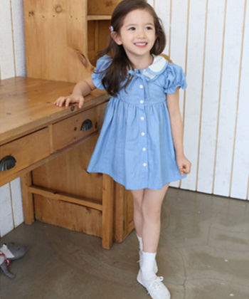 Cute Puff Sleeved Dress With Front Button Opening - Blue - Meny