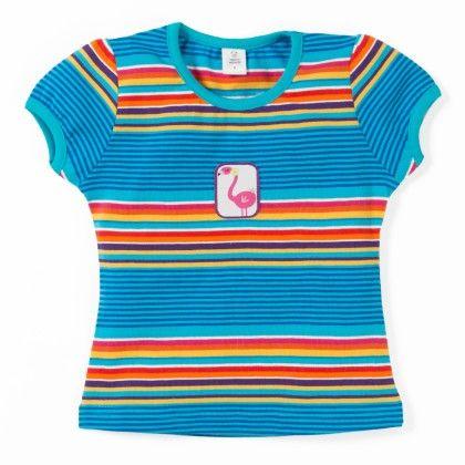 Teal Blue Girls Stripe Basic Top - TOFFYHOUSE