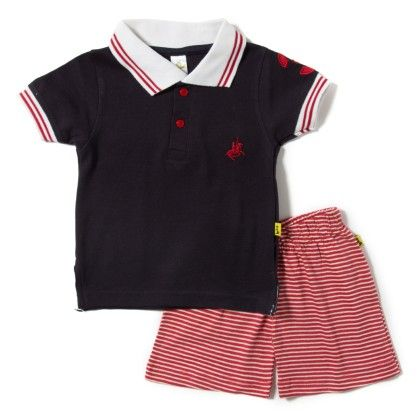 Navy Polo T-shirt And Shorts Set - Tiny Bee