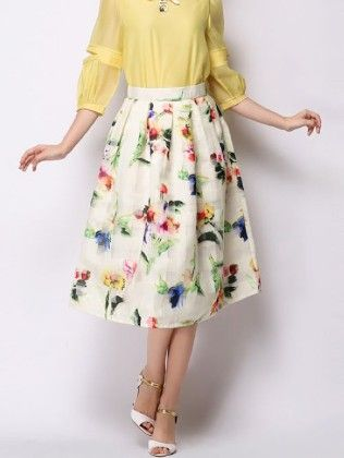 White Floral Printed Skirt - Mauve Collection