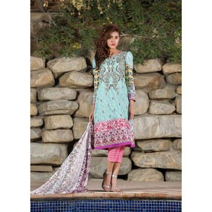 Embroidered Dress Material-light Blue - Mauve Collection