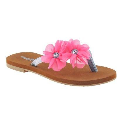 Pink Multi Floral Girls Fashion Flip Flops - Capelli New York